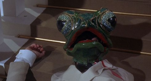 Frogs, bitch! (Technically death by frog mask, but you get the idea)
